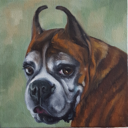 Millie, 8x8 oil on canvas